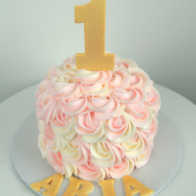 Pink, Gold and White Rosette Smash Cake.