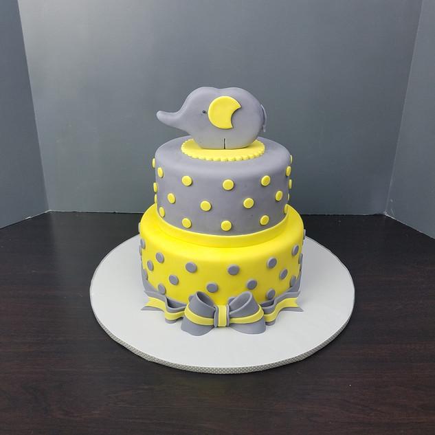 Elephant Polka Dot Baby Shower Cake.jpg