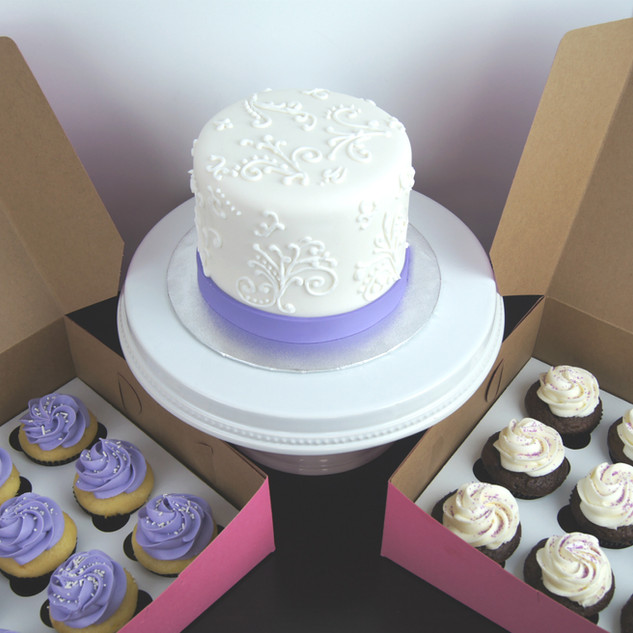Hand-Piped Bridal Shower Cake and Cupcak