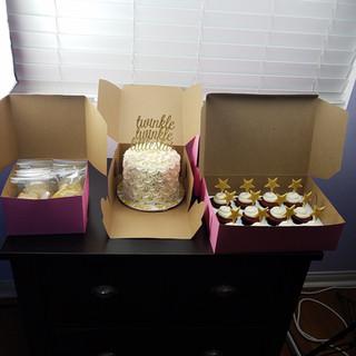 Elegant White Rosette Baby Shower Cake a