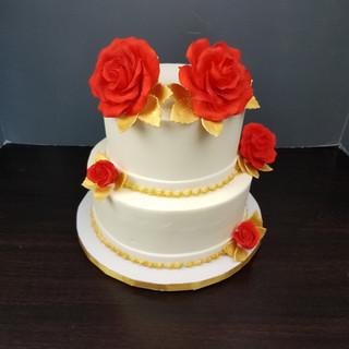 Golden Anniversay Rose Cake