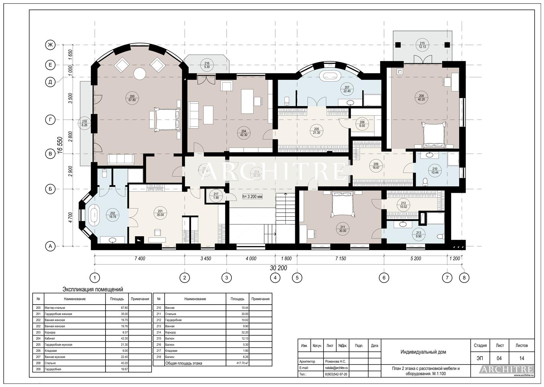 Эскизный проект дома. План 2 этажа.