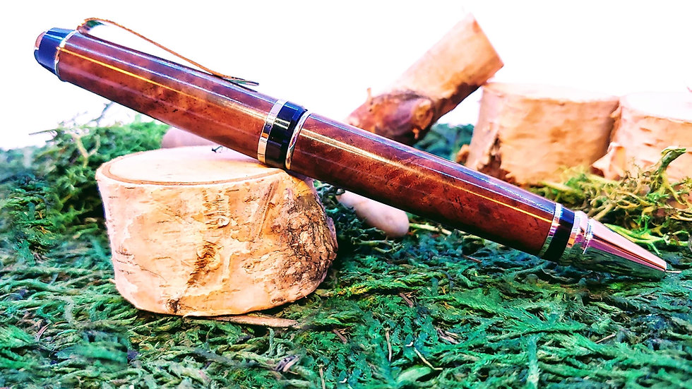 Handcrafted Curly Walnut Wood Pen (silver hardware)