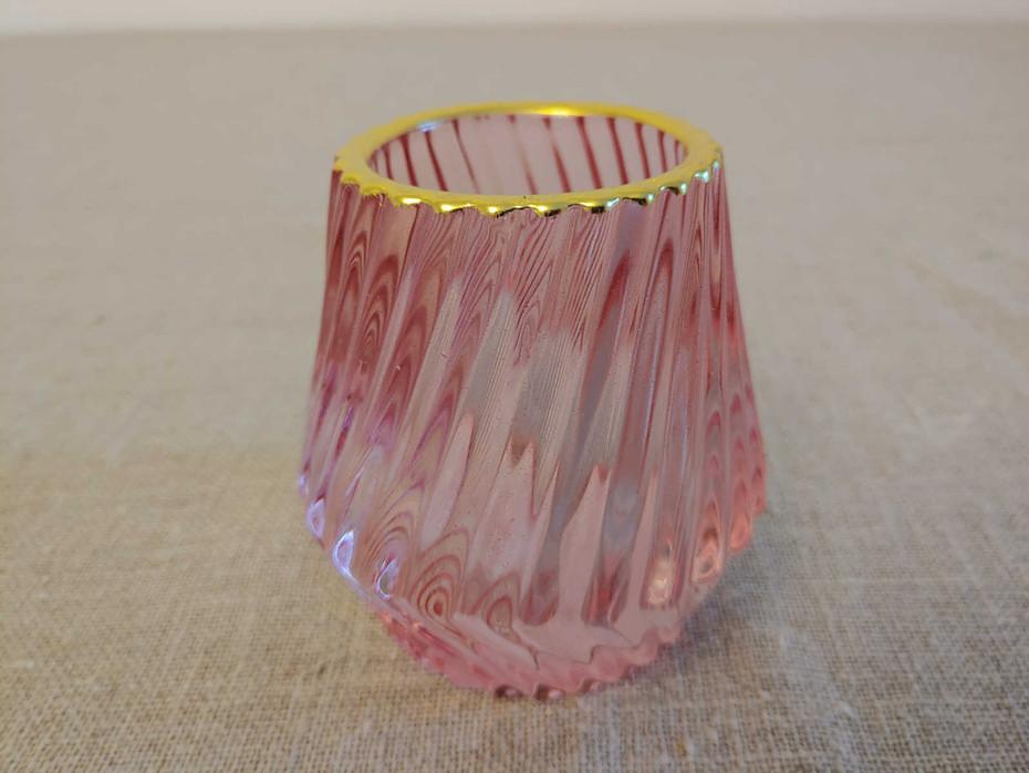 Windlicht rosa mit Goldrand