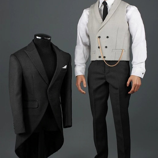 [LIMIT ORDER] VORTOYS V1014A Gentlemen's Dress Fashion 1/6 Dark Grey suit set