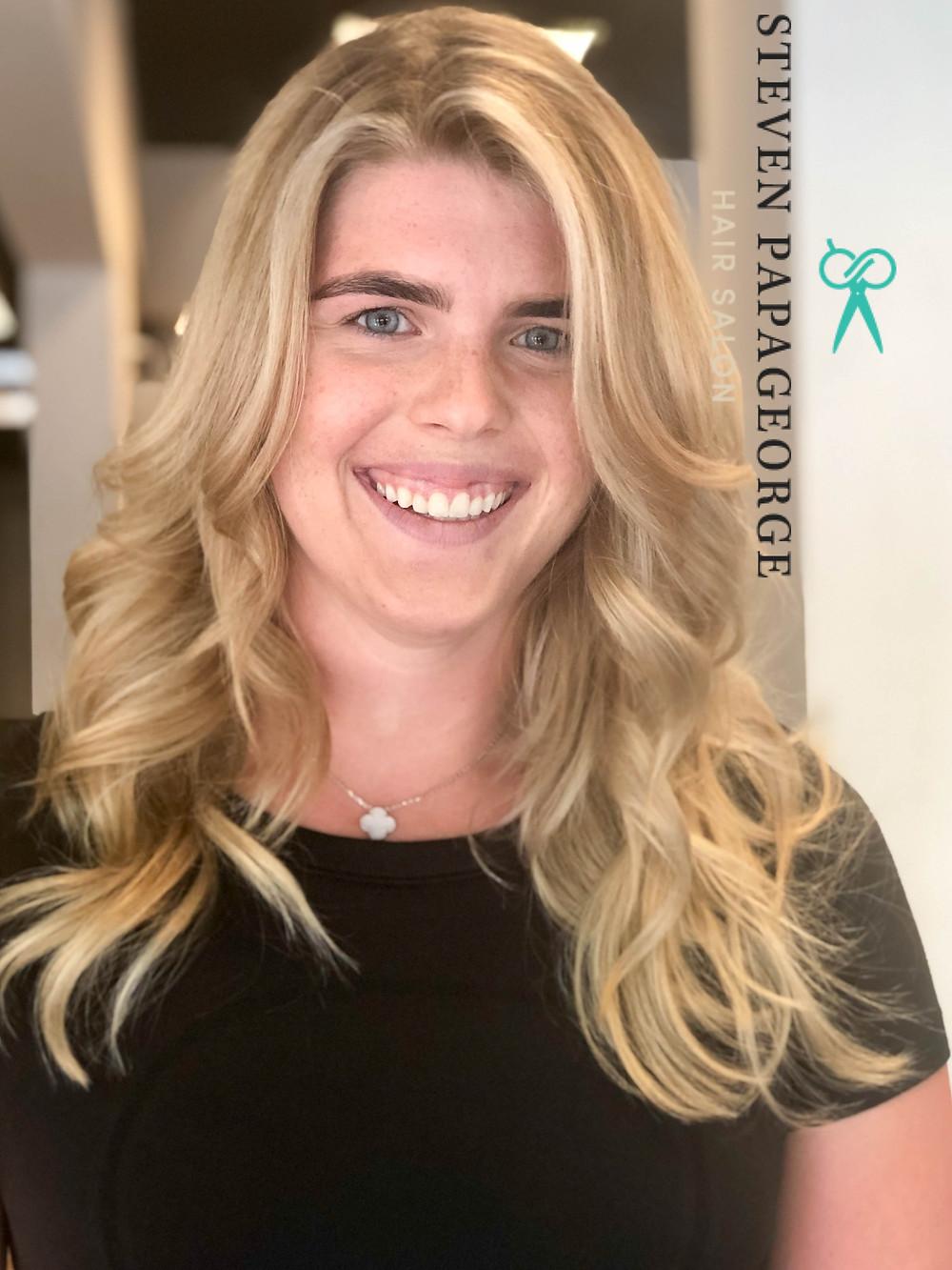 beautiful blonde woman with balayage highlights