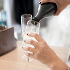 Sip champagne at the conclusion of our day