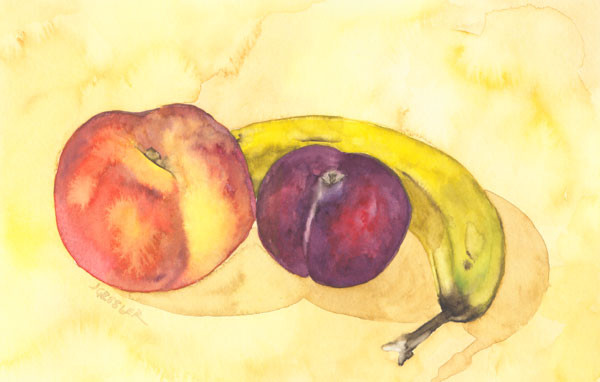 Banana, Peach and Plum