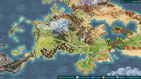 Fell Seal Arbiter's Mark world map screen shot video game tactical rpg
