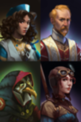 Fell Seal Arbiter's Mark video game character portraits plague doctor cleric heale gadgeteer pilot