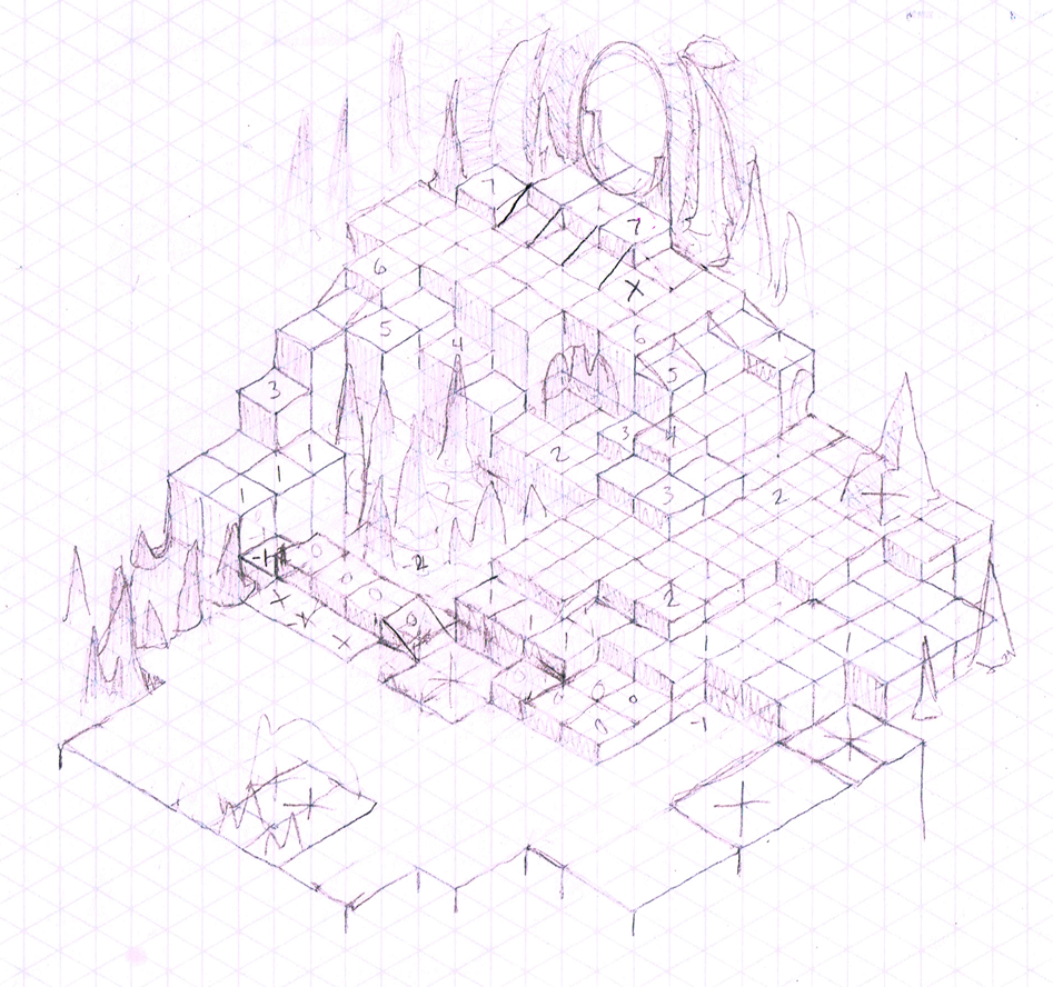 Cave Level Layout Sketch