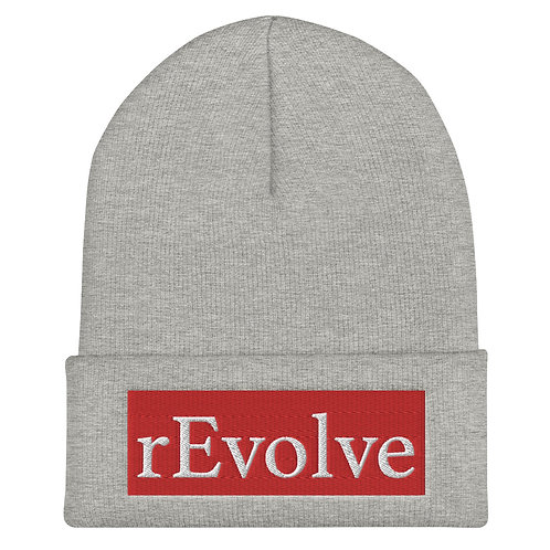 Gray Beanie, White On Red Logo