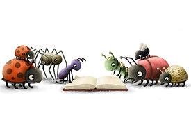Illustration of a book with reading bugs
