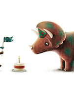 Illustration of fox & dinosaur celebrating a birthday