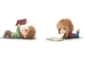 Illustration of childrn reading