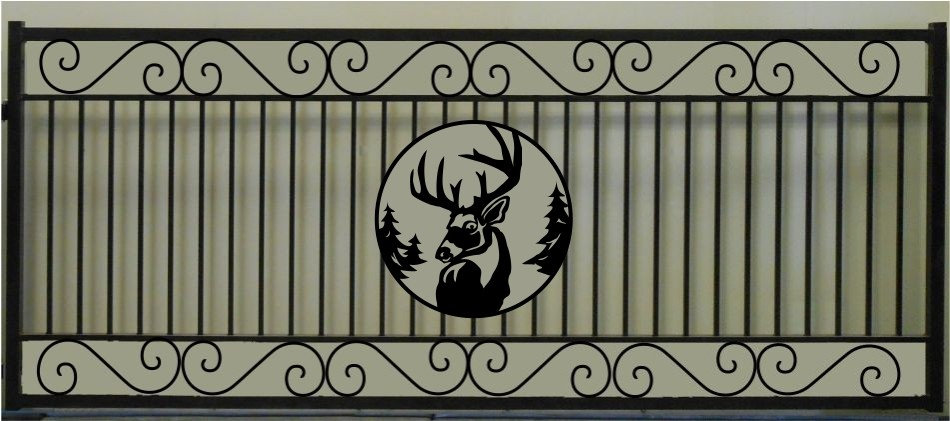 Deer Head Single Scroll Rectangular Gate 3' circle