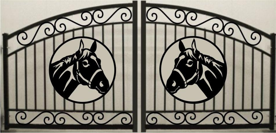 Horse Head Double Scroll Arch Gate 3' circle