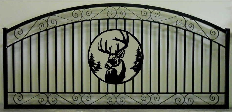 Deer Head Single Scroll Arch Gate 3' circle