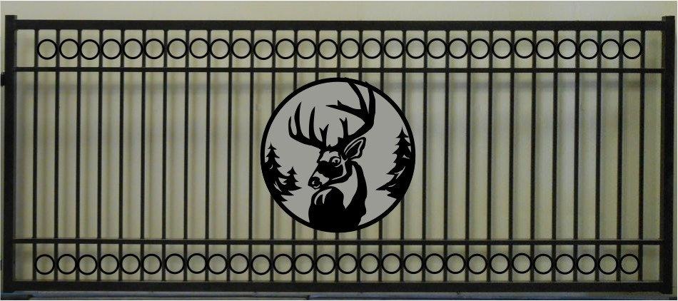 Deer Head Single Circle Rectangular Gate 3' circle