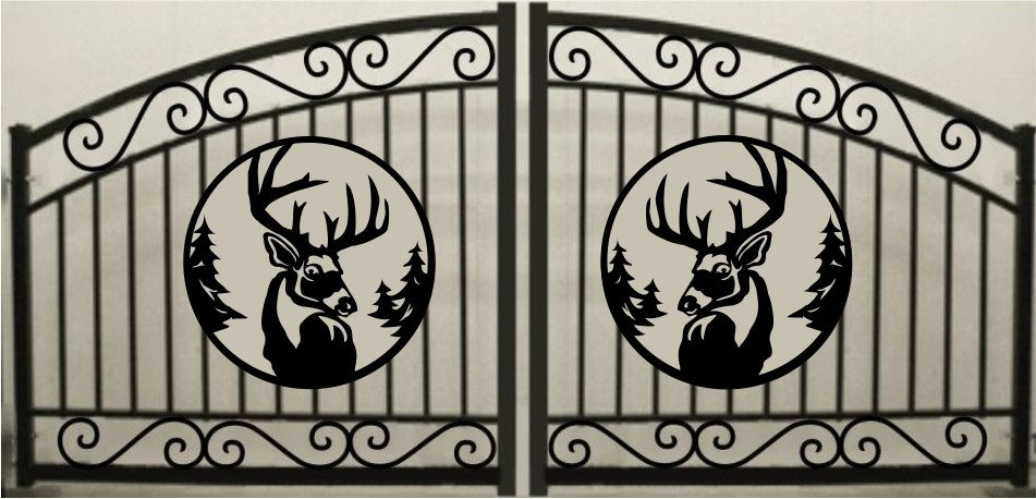 Deer Head Double Scroll Arch Gate 3' circle