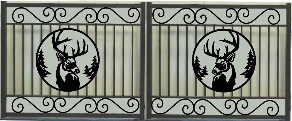 Deer Head Double Scroll Rectangular Gate 3' Circle