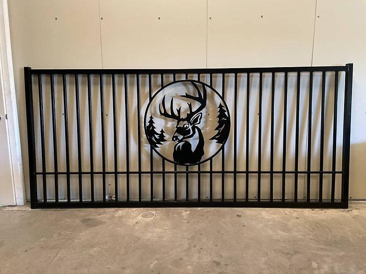 12' Deer Head Single Heavy Duty Gate with Post& Hardware!