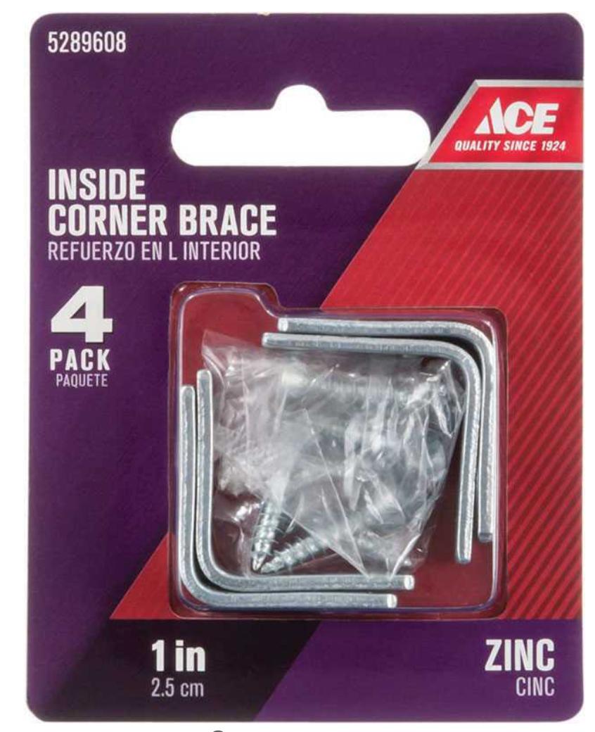 Ace 1 in. H x 2.75 in. W x 1 in. D Zinc Corner Brace Inside L