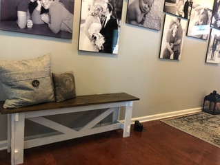 Farmhouse Rustic Hallway Bench