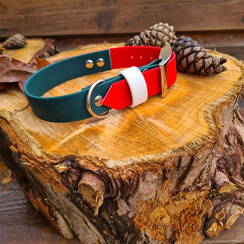 dark green and red christmas bioithane collar with strap keeper