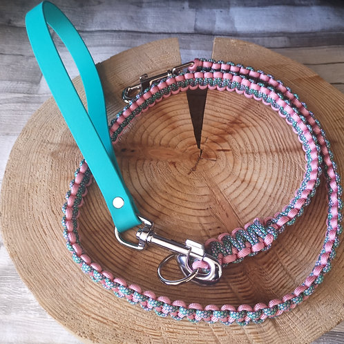 teal and pink green diamonds Cobra Paracord Lead