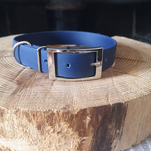 NAVY Biothane Collar SILVER BUCKLE