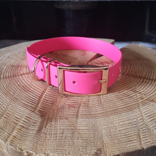 BRIGHT PINK Biothane Collar ROSE GOLD BUCKLE