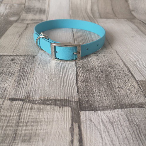 SKY BLUE Biothane Collar ROSE GOLD BUCKLE