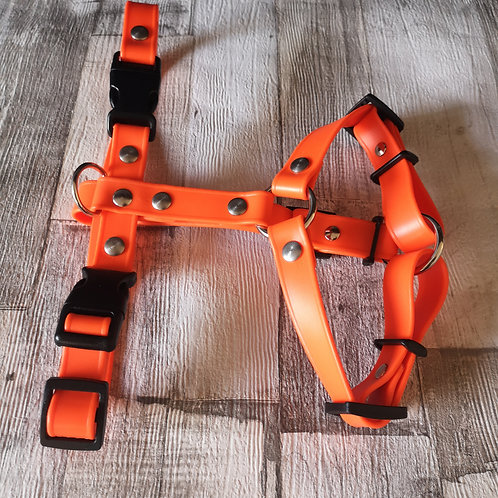 orange adjustable Soft Touch Biothane Harness