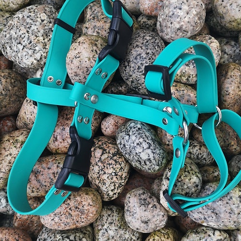 PLAIN TEAL Adjustable Soft Touch Biothane Harness
