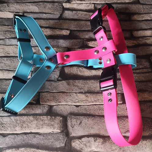 SKYblue and pink adjustable Soft Touch Biothane Harness