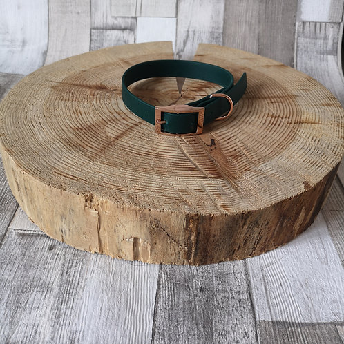 DARK GREEN Biothane Collar ROSE GOLD BUCKLE