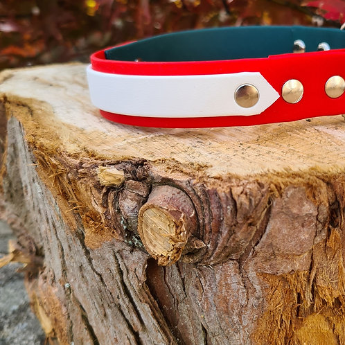 dark green and red with white layer and strap keeper