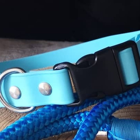 SKY BLUE Adjustable Soft Touch Biothane COLLAR