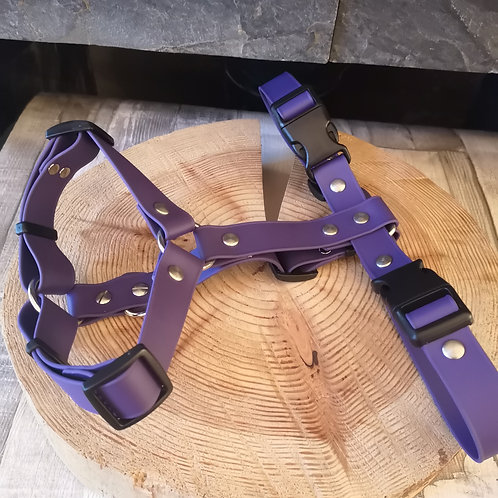 PLAIN PURPLE Adjustable Soft Touch Biothane Harness