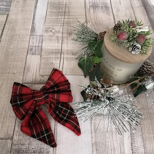 Red Christmas Tartan Bow