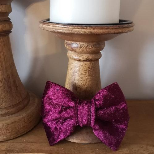burgandy velvet bow