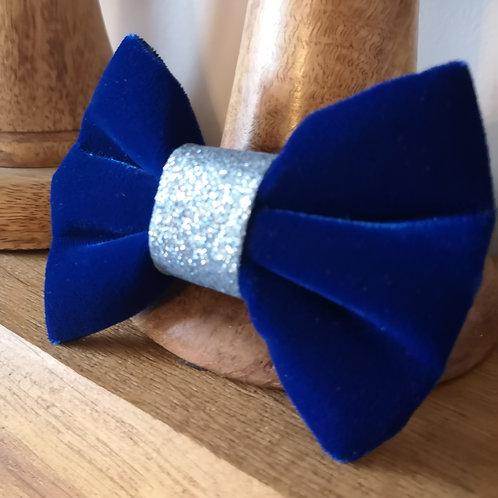 royal blue and glitter velvet bow