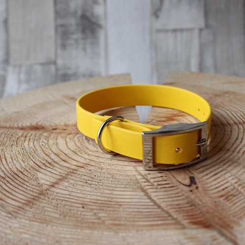 yellow Biothane Collar SILVER BUCKLE