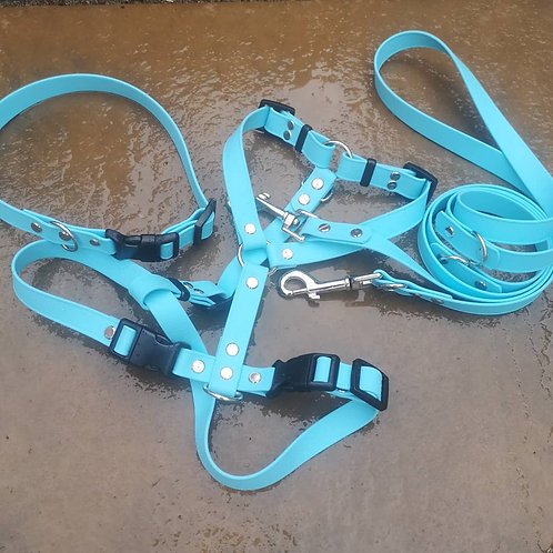 PLAIN SKY BLUE Adjustable Soft Touch Biothane Harness