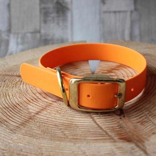 orange biothane Collar ROSE GOLD BUCKL