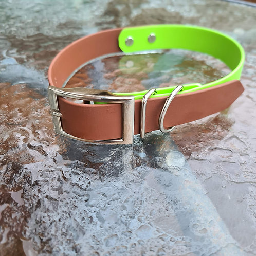 brown and apple biothane collar 25mm L