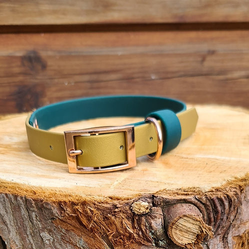 dark green and gold biothane collar 20mm M