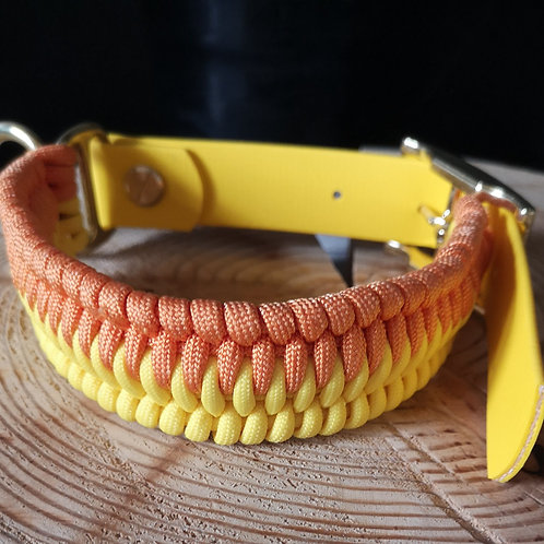 orange and yellow paracord and biothane