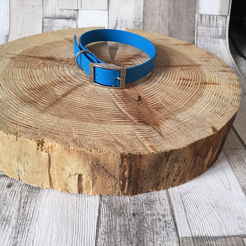 BLUE Biothane Collar ROSE GOLD BUCKLE